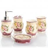 欧式陶瓷卫浴浮雕玫瑰五件...