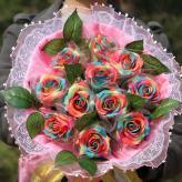 11朵保湿七彩玫瑰花 花...