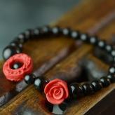 时尚玫瑰花漆雕玛瑙手链 ...