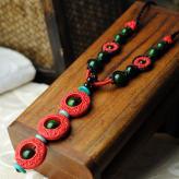 中国风漆雕长项链 饰品工...