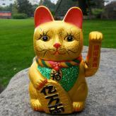 9寸摇手陶瓷金色招财猫 ...