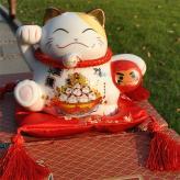 储蓄罐炫彩白陶瓷招财猫 ...