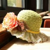 网纱大花朵防紫外线遮阳帽...