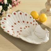 复古陶瓷孔雀水果盘 陶瓷...