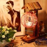 创意圆球海贝木质工艺台灯...
