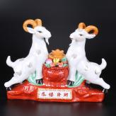 恭喜发财对羊 陶瓷工艺品