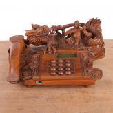 电话机 绿檀木 木雕艺术...