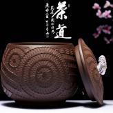 紫泥螺纹罐约半斤装茶叶罐...