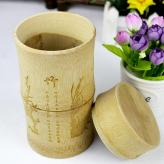 高档碳化竹节密封茶叶罐 ...