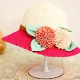 拼色花朵大檐沙滩帽 帽子...