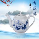 7头手绘釉上花开富贵茶具...