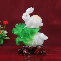 安居乐业玉白菜摆件 树脂工艺品