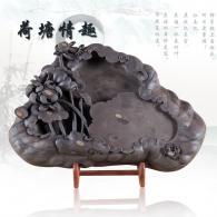 吴顺明《荷塘情趣》端砚艺术品