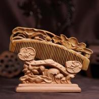 荷叶中号绿檀木梳 饰品工艺品