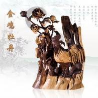 《金鸡牡丹》根雕艺术品