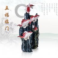 李刚《五福临门》石湾陶艺艺术品...