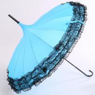 遮阳蕾丝花边纯色雨伞 生活用品...