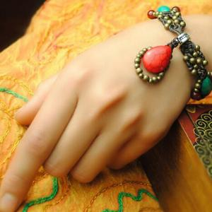 铜珠手工蜡绳编织手链...