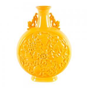 黄釉八吉祥纹小扁瓶 ...
