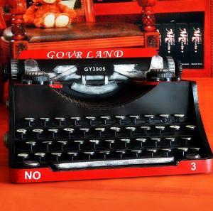 铁皮复古打字机模型摆...