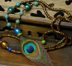 琉璃松石孔雀羽毛项链...