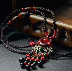木环玛瑙中国风长项链...