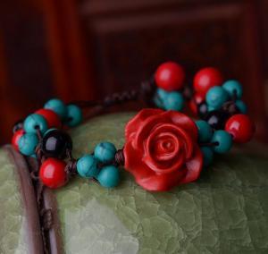 漆雕红玫瑰松石手链 ...