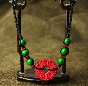 波西米亚漆雕项链短款...