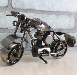 创意摩托车复古模型摆...