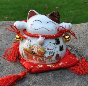 招财猫储蓄罐炫彩白摆...