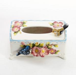 陶瓷爱情鸟长形纸巾盒...