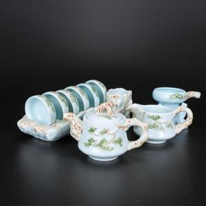 彩釉带杯架茶具 茶具...