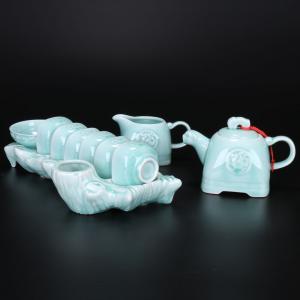 青釉带杯架茶具 茶具...