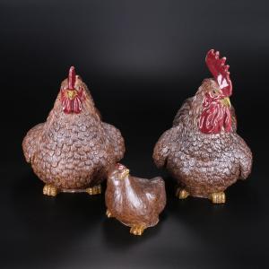 《陶艺鸡》三件套 陶...