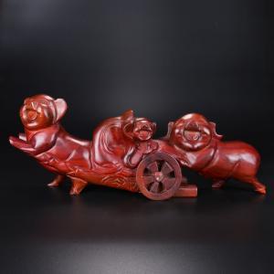 幸福圆满猪 木雕艺术...