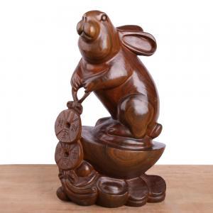金钱兔 木雕艺术品