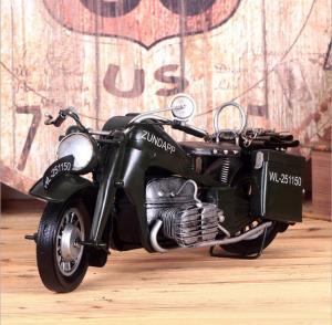 复古铁皮创意摩托模型...