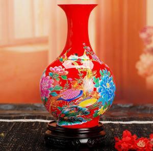 中国红花瓶 陶瓷工艺...
