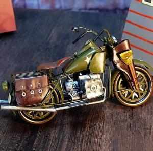 复古摩托车铁质模型摆...