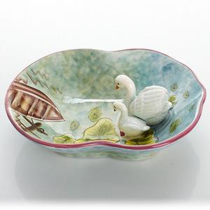 陶瓷手绘立体天鹅糖果...