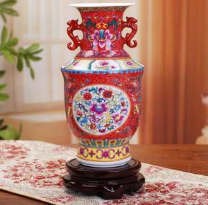 珐琅彩花瓶 陶瓷工艺...
