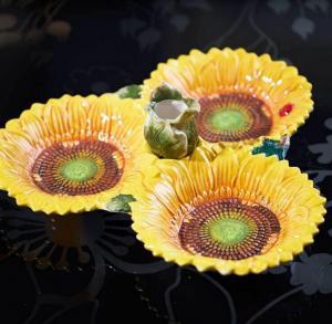 三格蘸料盘向日葵黄色...