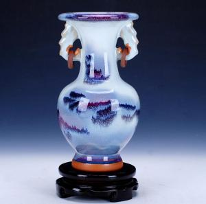 钧瓷仿古开片花瓶 陶...
